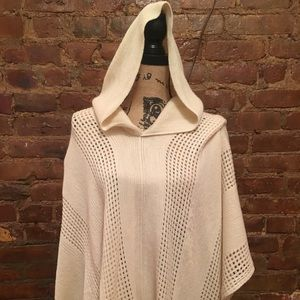 Anthropologie Cream Poncho Sweater